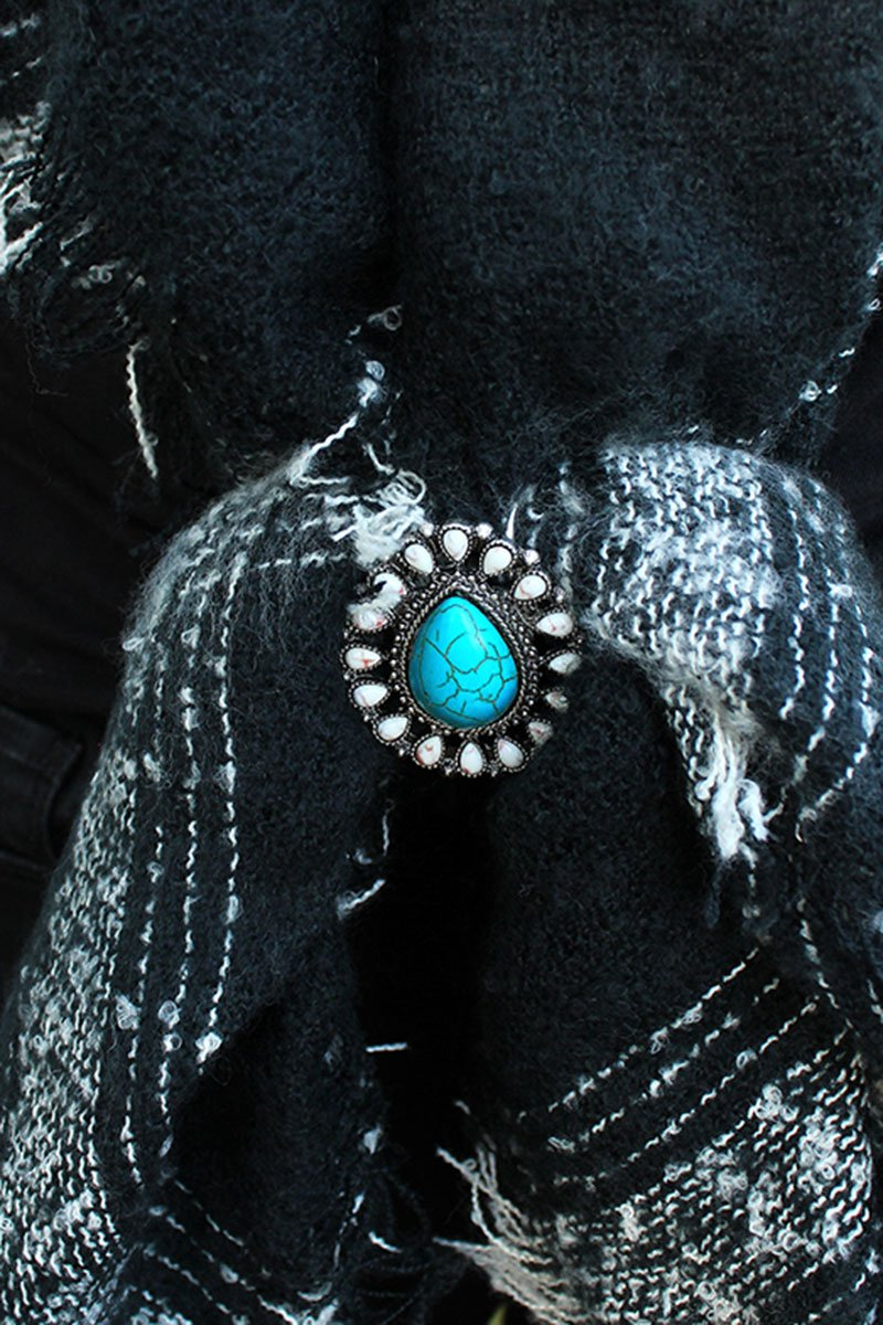 White and Turquoise Beaded Burnished Silvertone Teardrop Scarf Slide