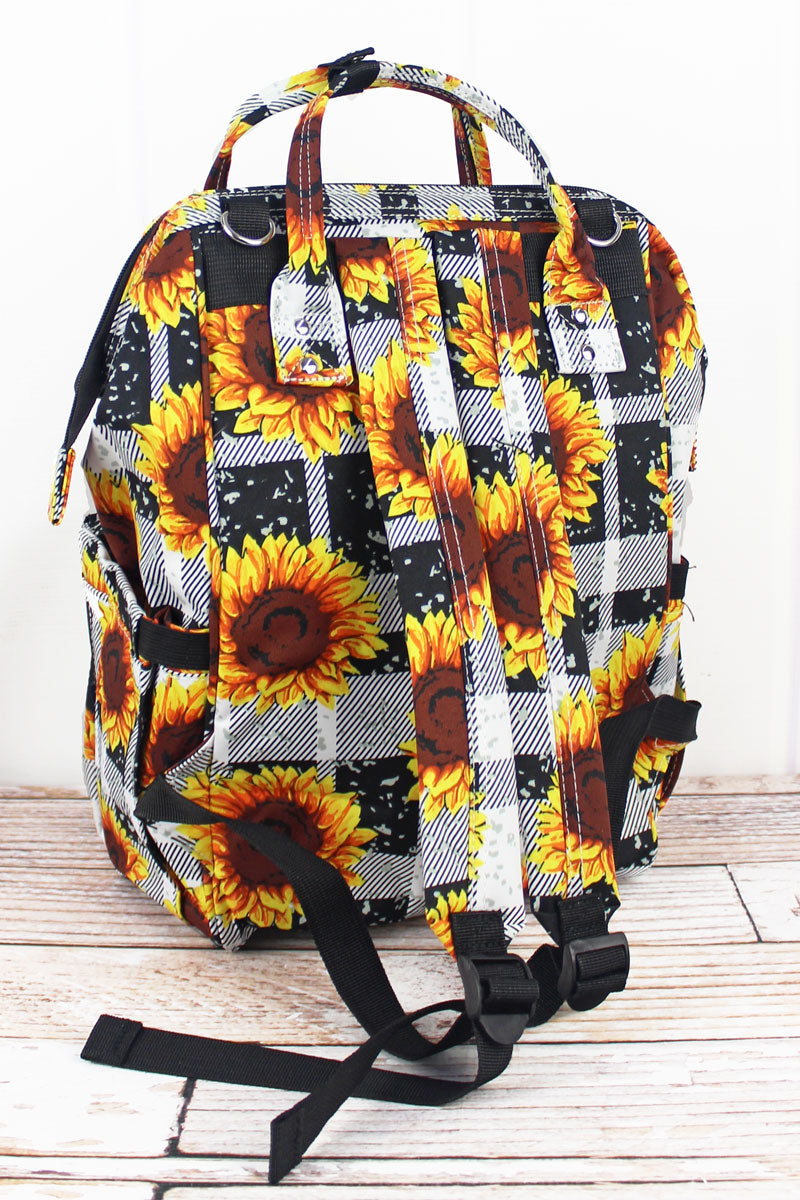 NGIL Sunflower Plaid Diaper Bag Backpack
