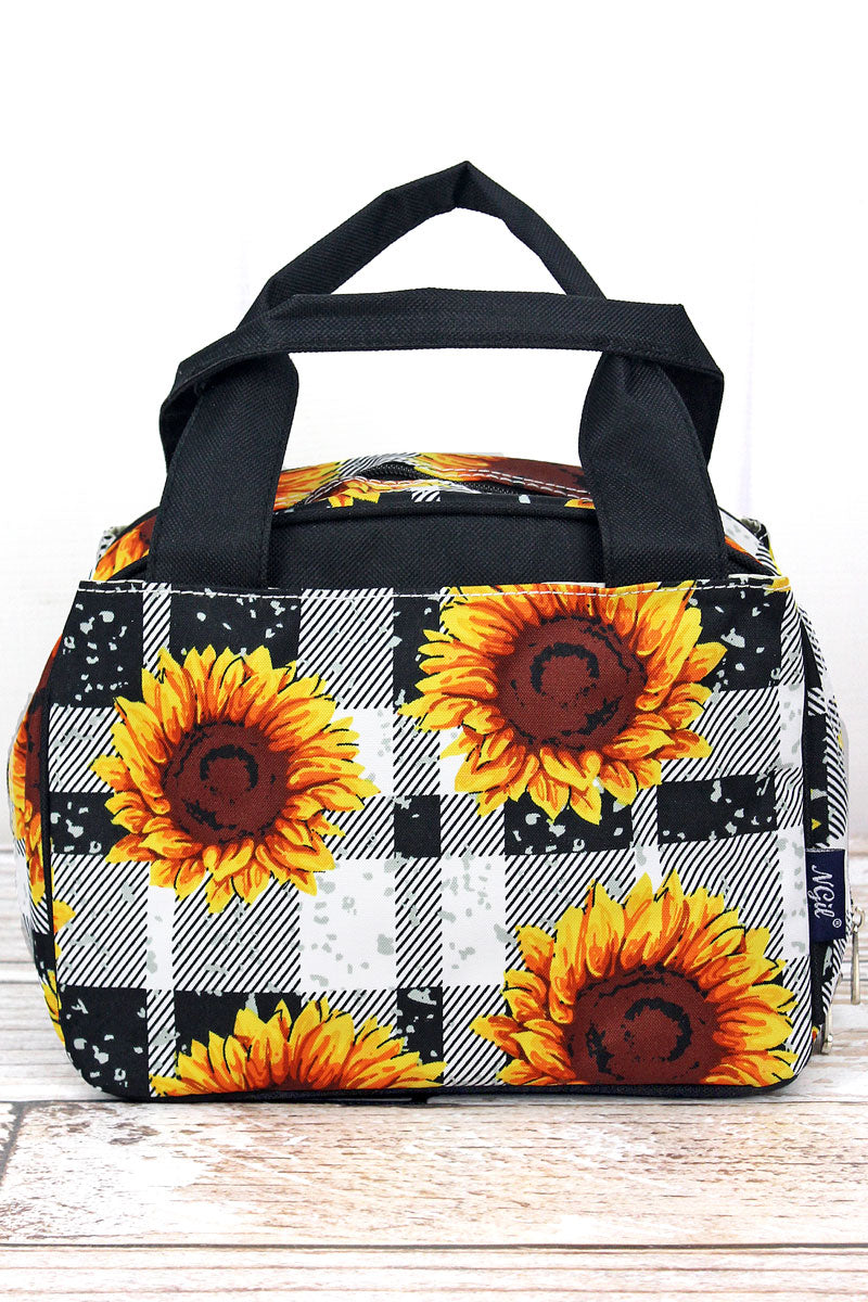 NGIL Sunflower Plaid Insulated Bowler Style Lunch Bag