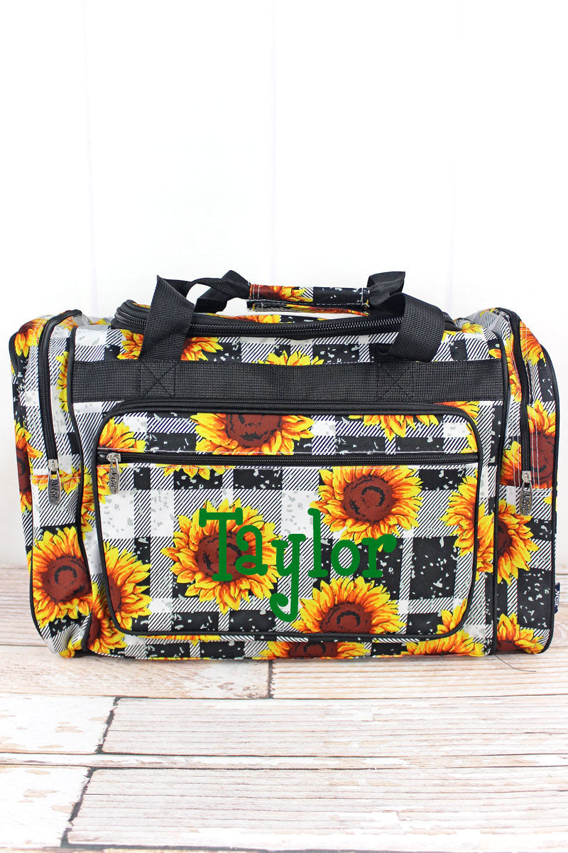 NGIL Sunflower Plaid Duffle Bag 20""