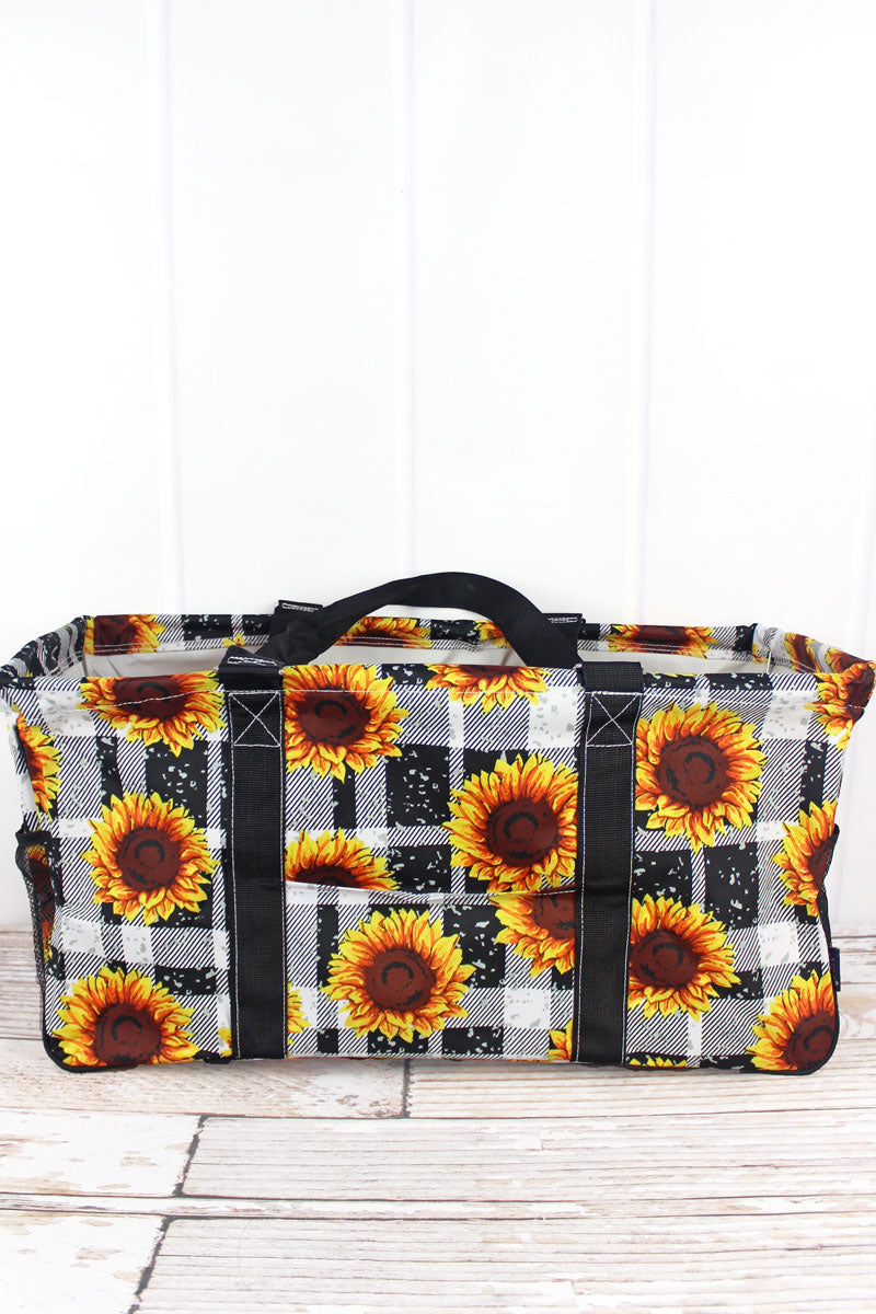 NGIL Sunflower Plaid Collapsible Haul-It-All Basket with Mesh Pockets
