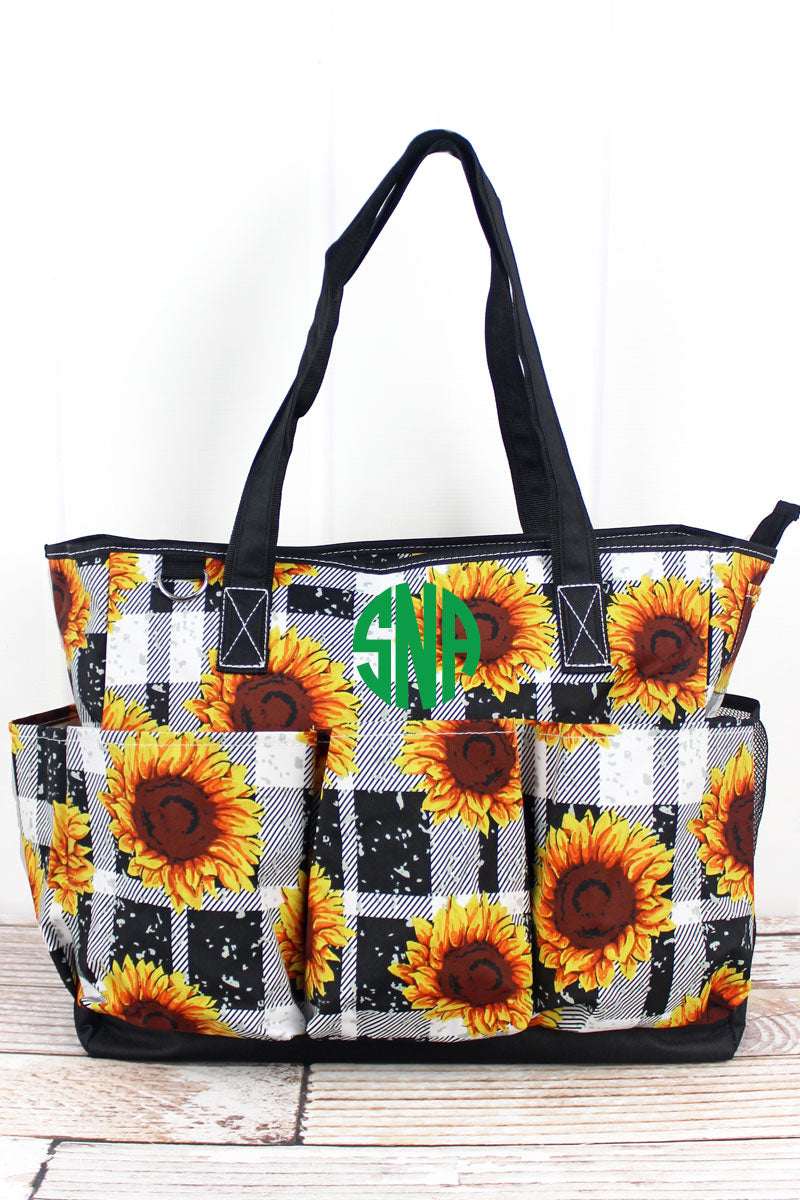 NGIL Sunflower Plaid Large Organizer Tote