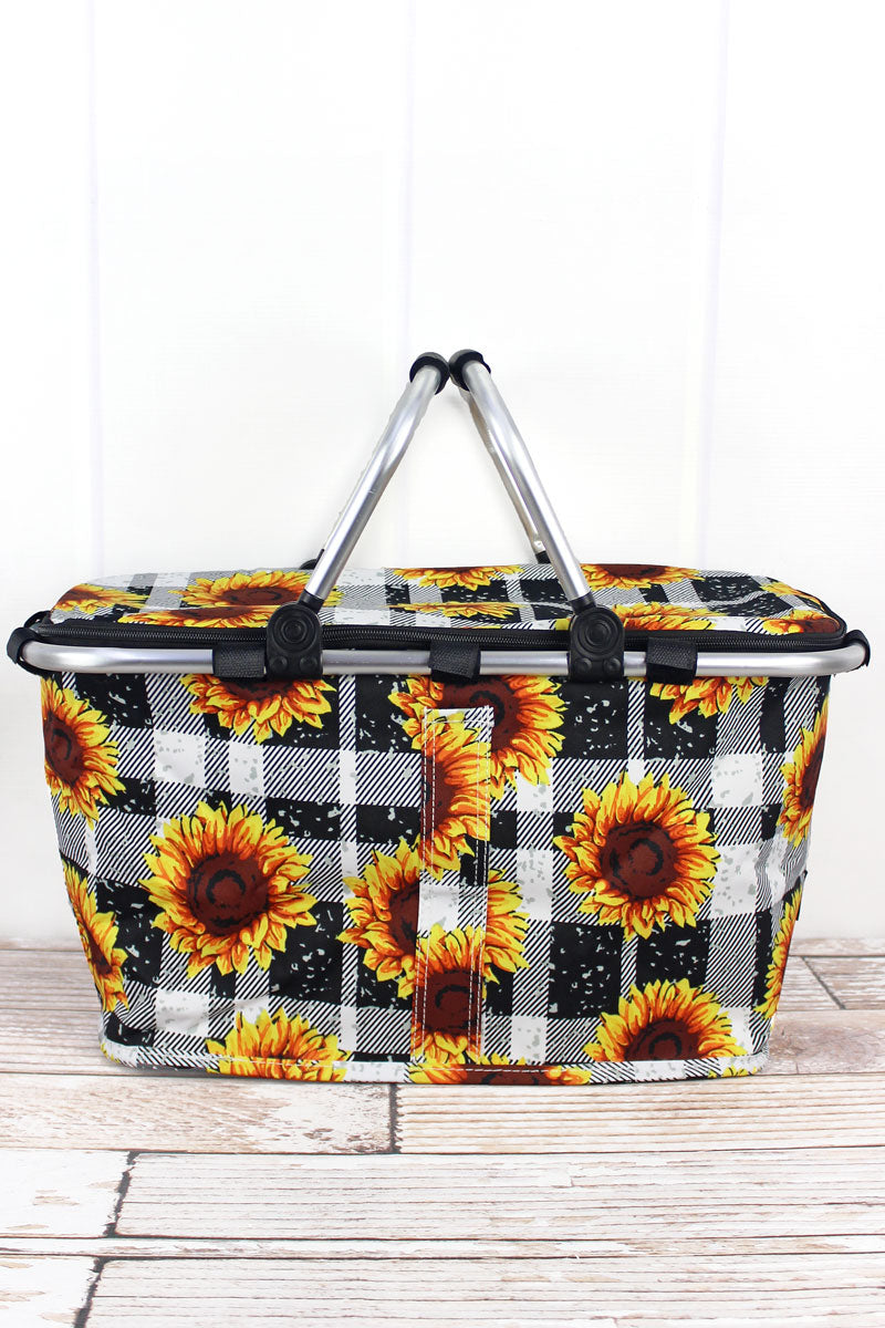 NGIL Sunflower Plaid Collapsible Insulated Market Basket with Lid