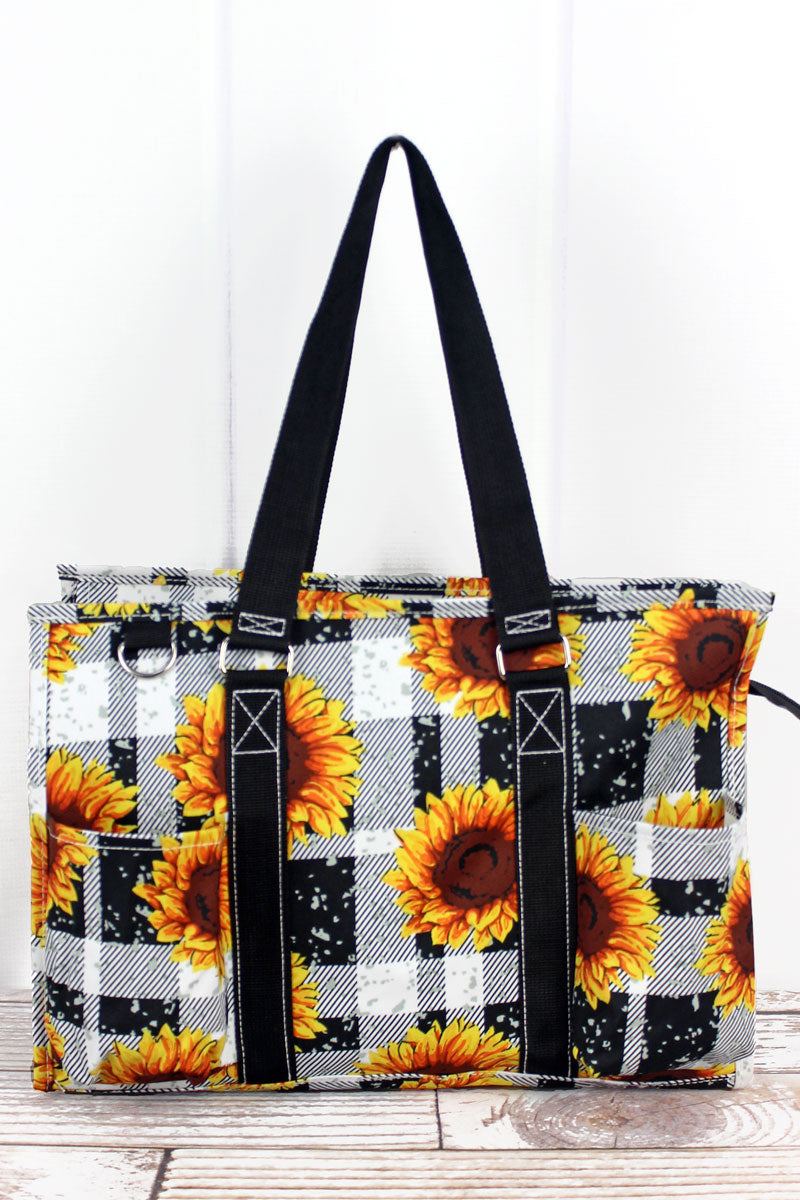 NGIL Sunflower Plaid Utility Tote with Black Trim