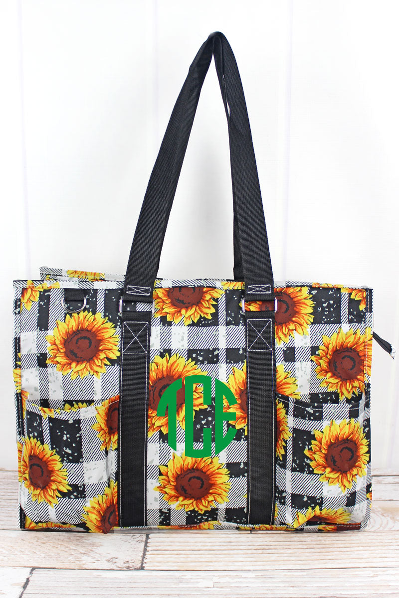 NGIL Sunflower Plaid with Black Trim Large Organizer Tote