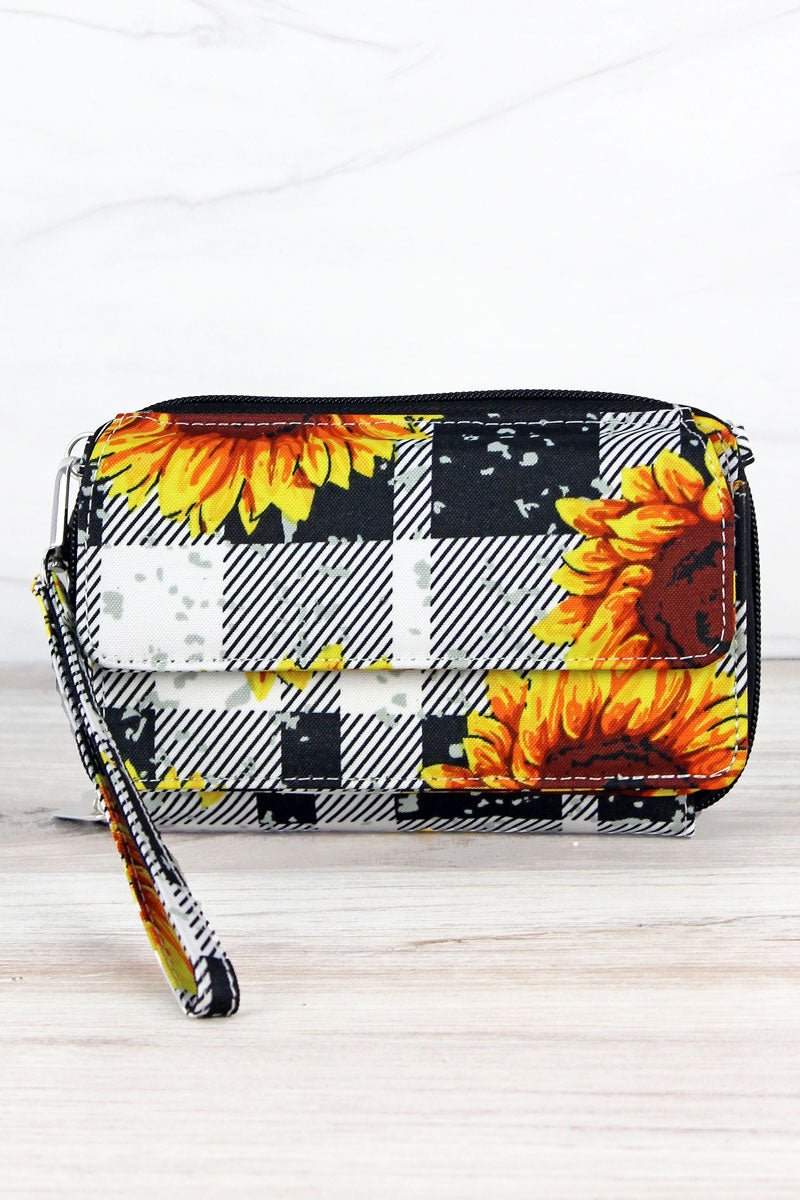 NGIL Sunflower Plaid Crossbody Organizer Clutch
