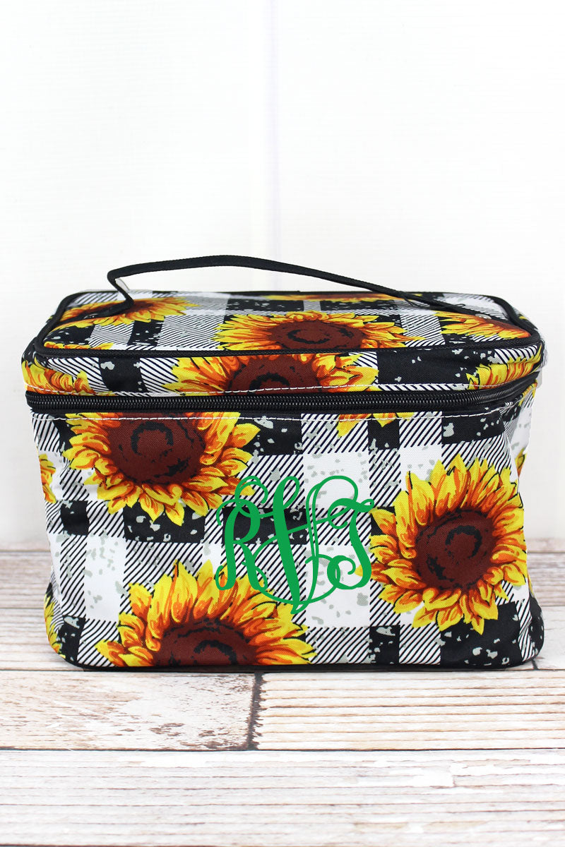 NGIL Sunflower Plaid Train Case