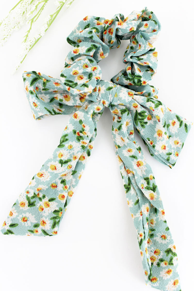 Delightful Daisies Teal Scarf Scrunchie