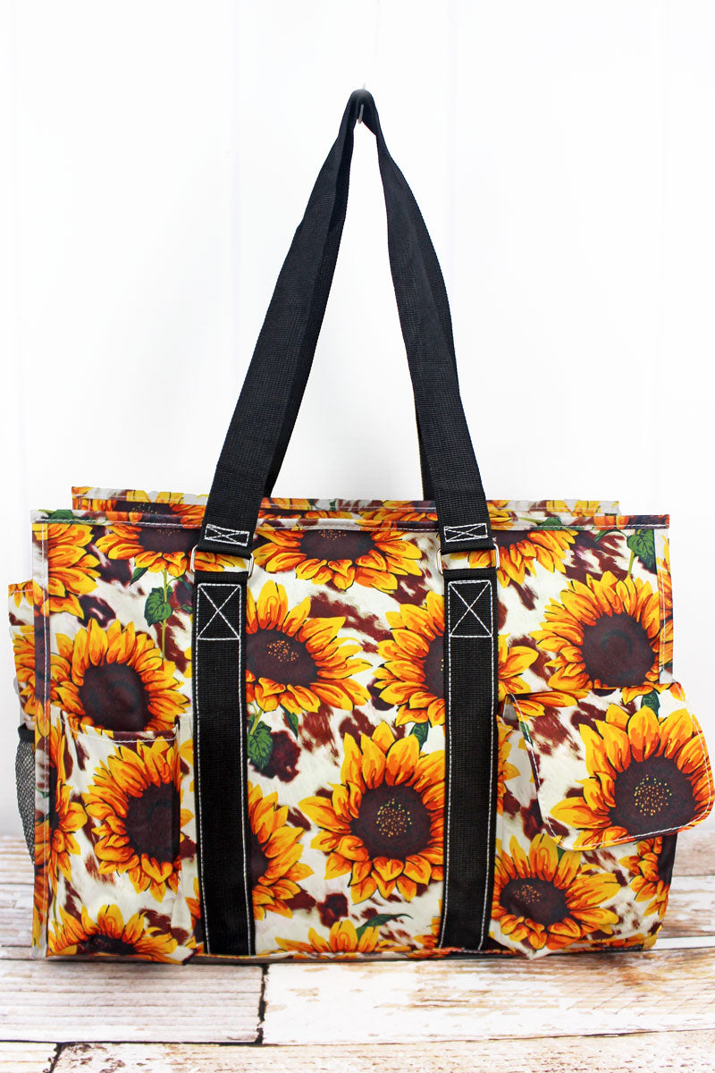 NGIL Sunflower Farm with Black Trim Large Organizer Tote