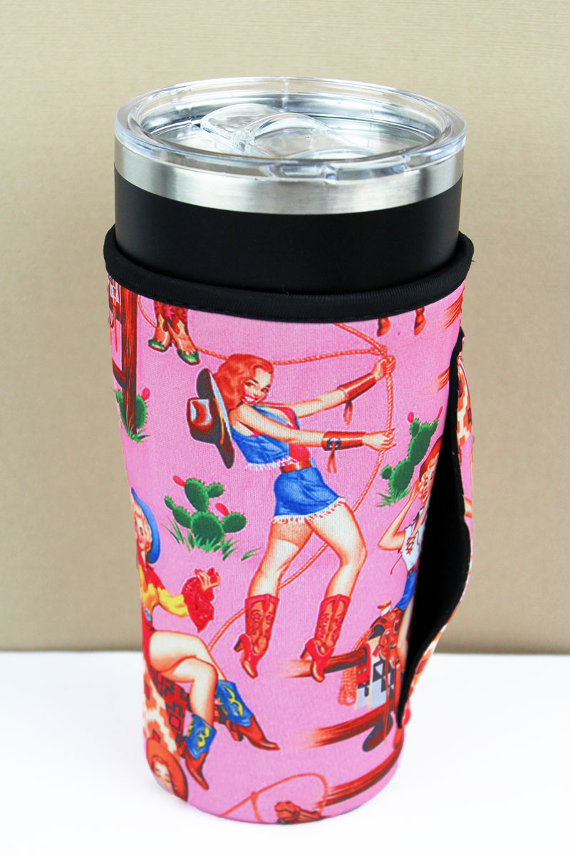 Cowgirl Pinups Pink Tumbler Drink Sleeve