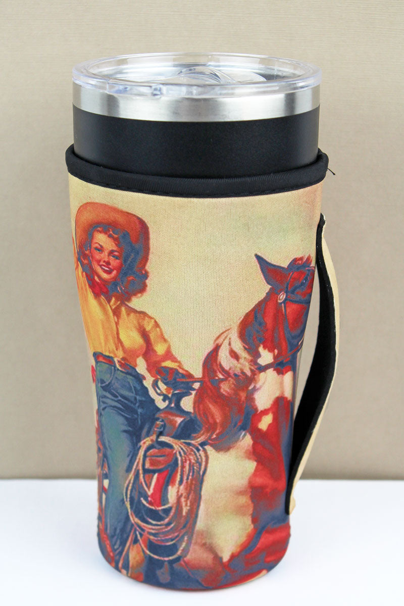 Classic Cowgirl Portrait Tumbler Drink Sleeve