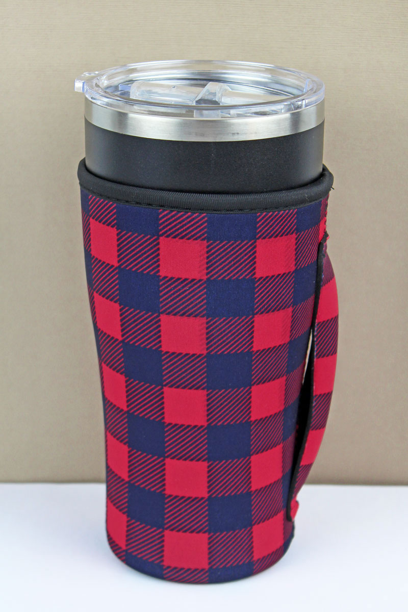 Red and Black Buffalo Plaid Tumbler Drink Sleeve