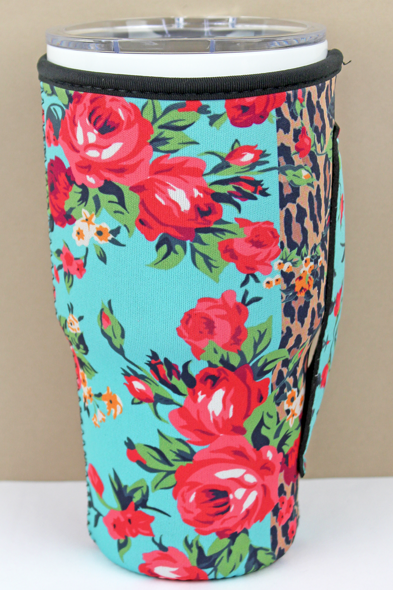 Roses Leopard & Blue Colorblock Tumbler Drink Sleeve