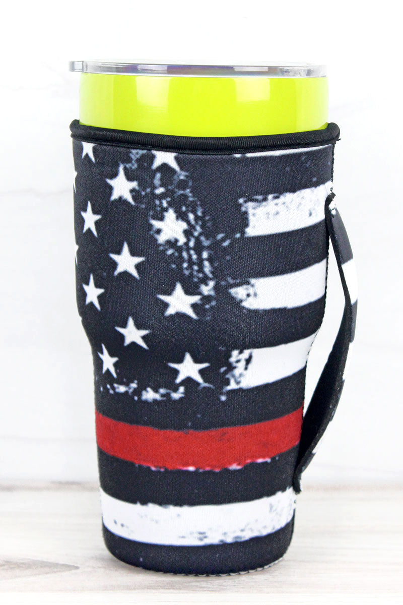 Thin Red Line Flag Tumbler Drink Sleeve