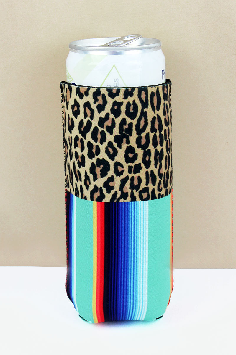 Leopard And Mint Serape Slim Can Drink Sleeve