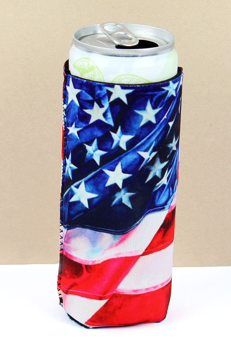 American Flag Slim Can Drink Sleeve