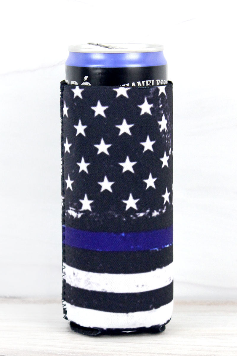 Thin Blue Line Flag Slim Can Drink Sleeve