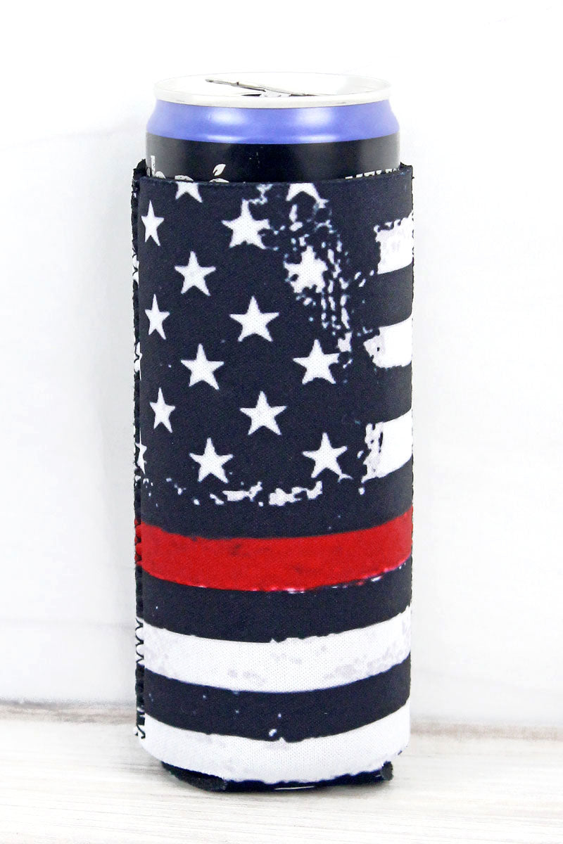 Thin Red Line Flag Slim Can Drink Sleeve