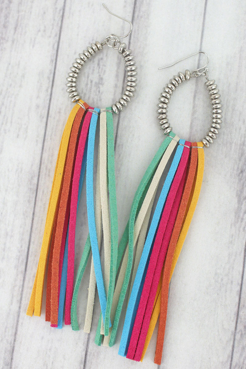 Multi-Color and Silvertone Beaded Teardrop Tassel Earrings