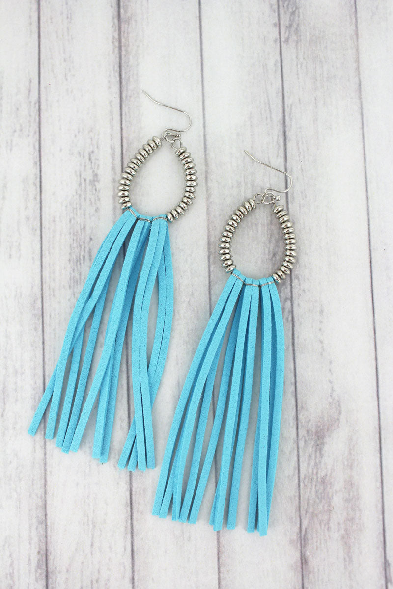 Turquoise and Silvertone Beaded Teardrop Tassel Earrings