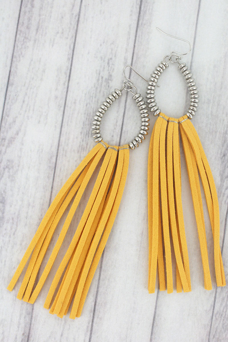 Yellow and Silvertone Beaded Teardrop Tassel Earrings