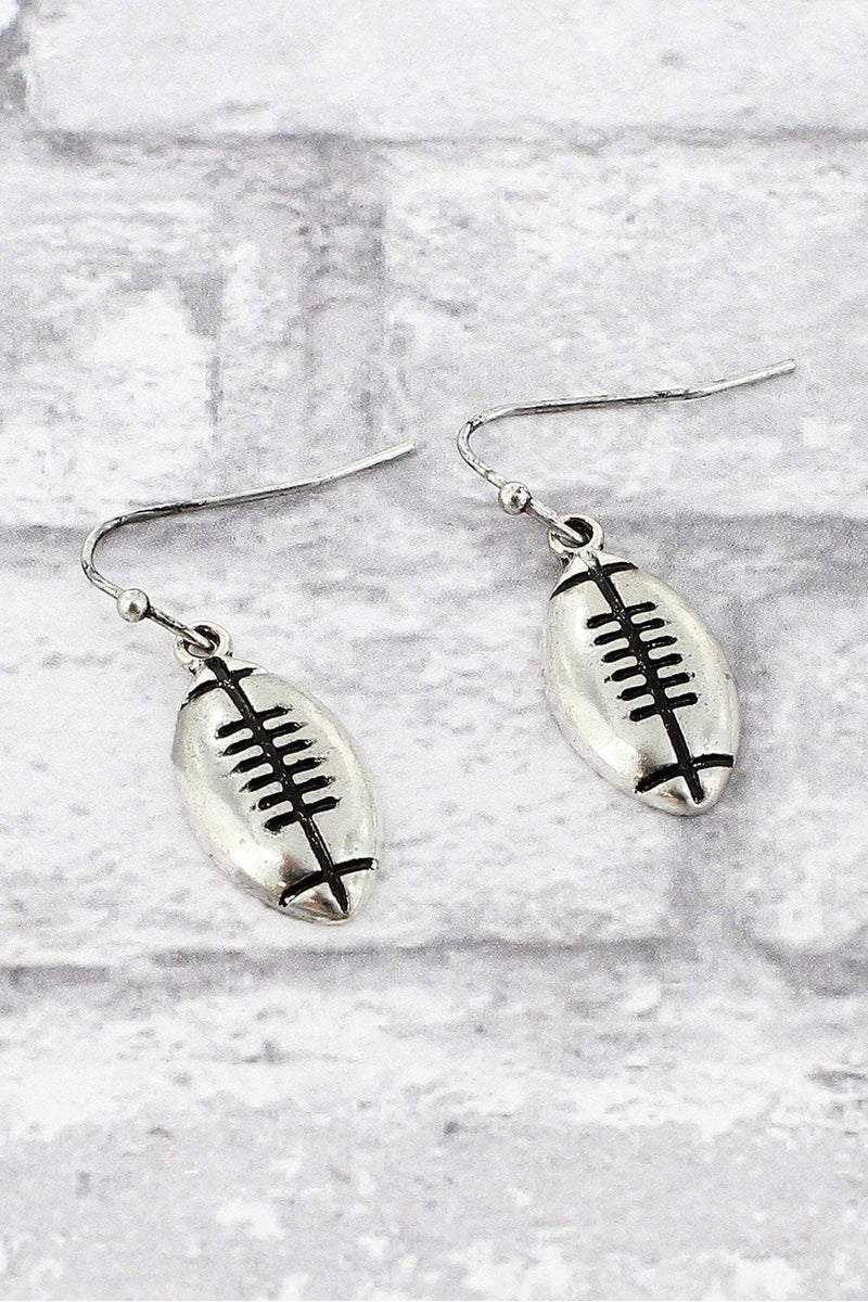 Burnished Silvertone Football Earrings