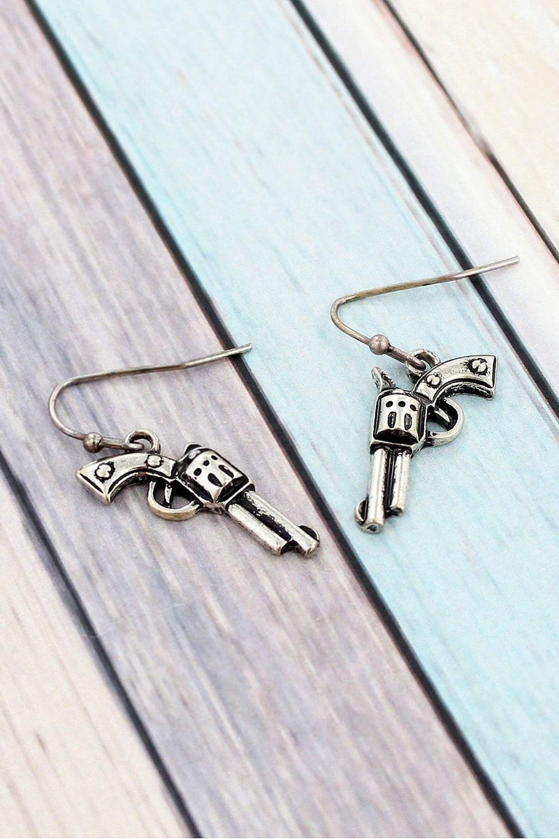Burnished Silvertone Pistol Earrings #SE0008-SB