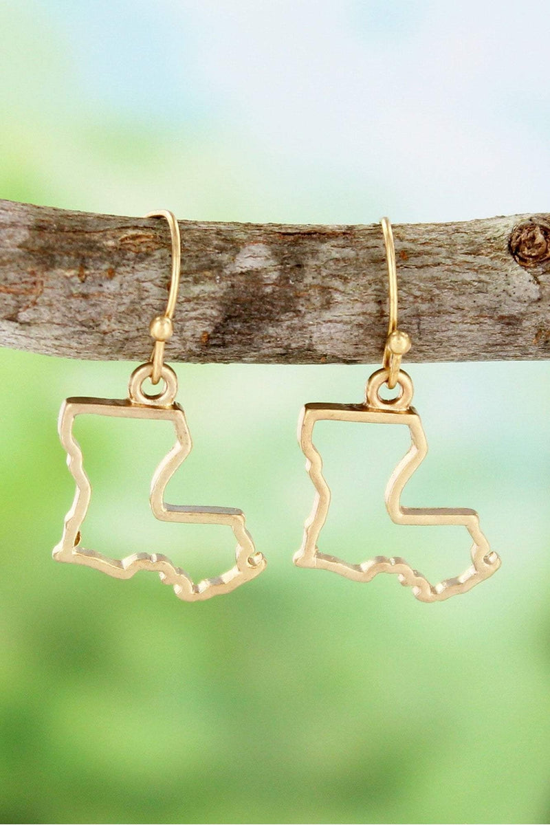 Worn Goldtone Louisiana Outline Earrings #SE0023-WG
