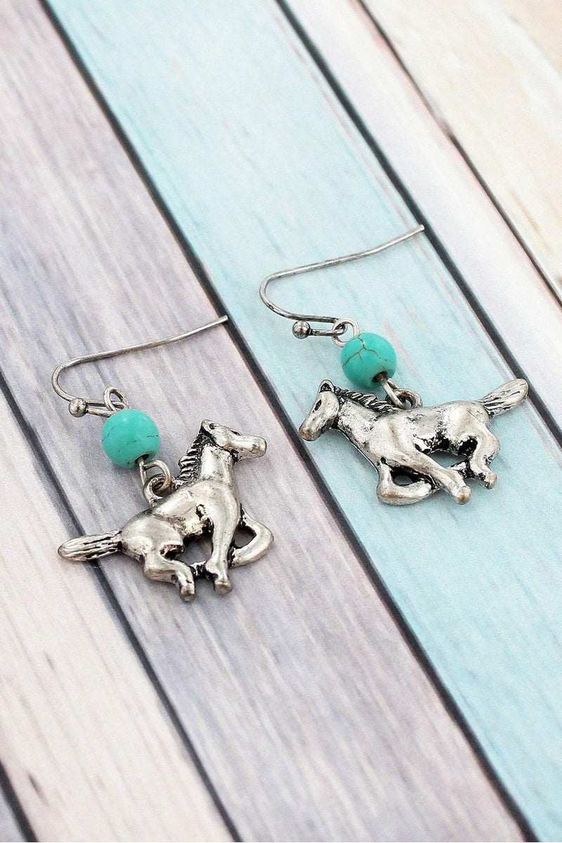 Turquoise Bead and Burnished Silvertone Galloping Horse Earrings #SE0037-SBTQ
