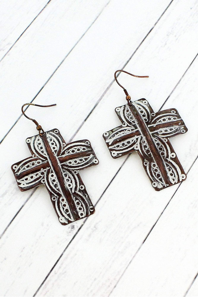 Worn Coppertone And White Patina Western Cross Earrings Se0067 Wt