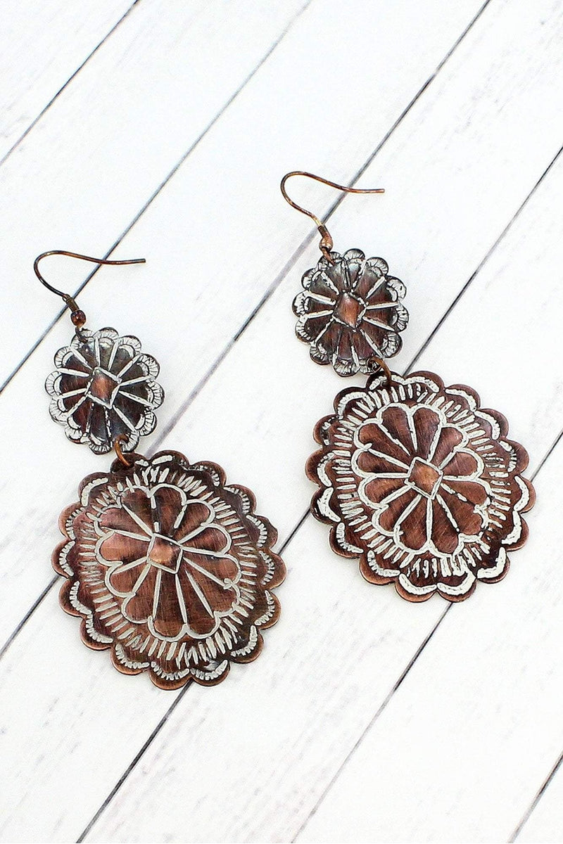 Worn Coppertone and White Patina Two-Tiered Concho Earrings #SE0068-WT