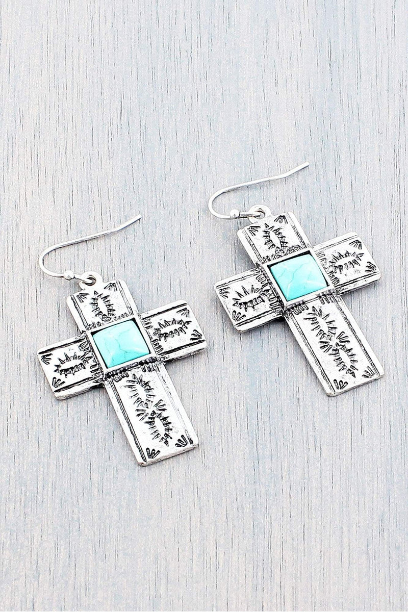 Western Turquoise Square Bead Cross Earrings