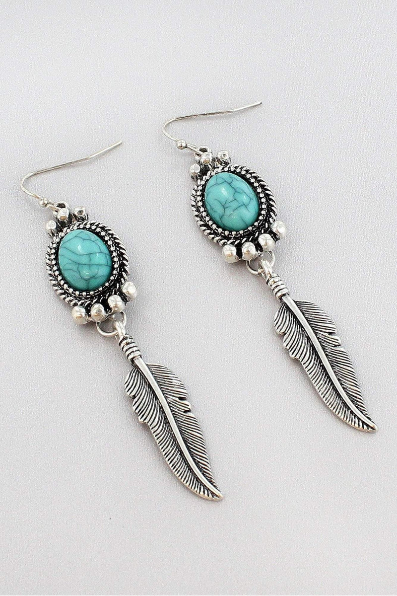 Turquoise and Burnished Silvertone Dangling Feather Earrings #SE0117-SBTQ