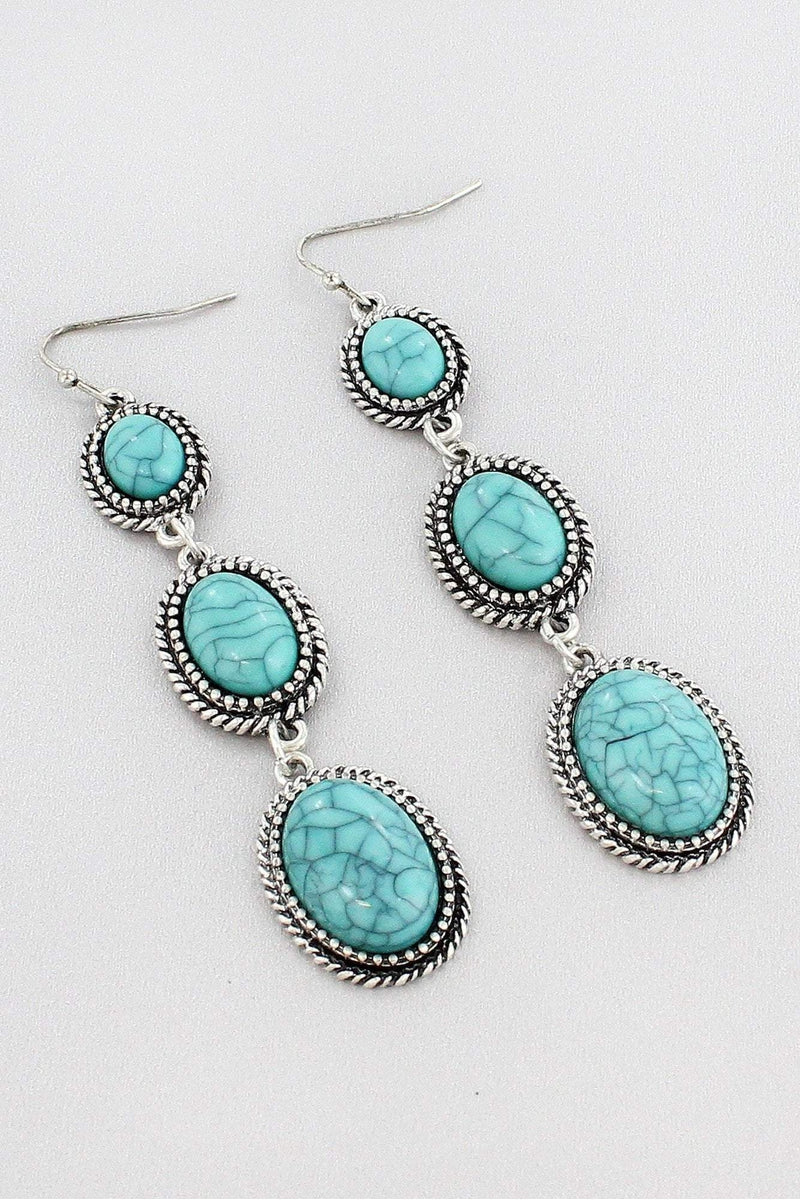 Burnished Silvertone and Turquoise Three-Tiered Drop Earrings #SE0121-SBTQ