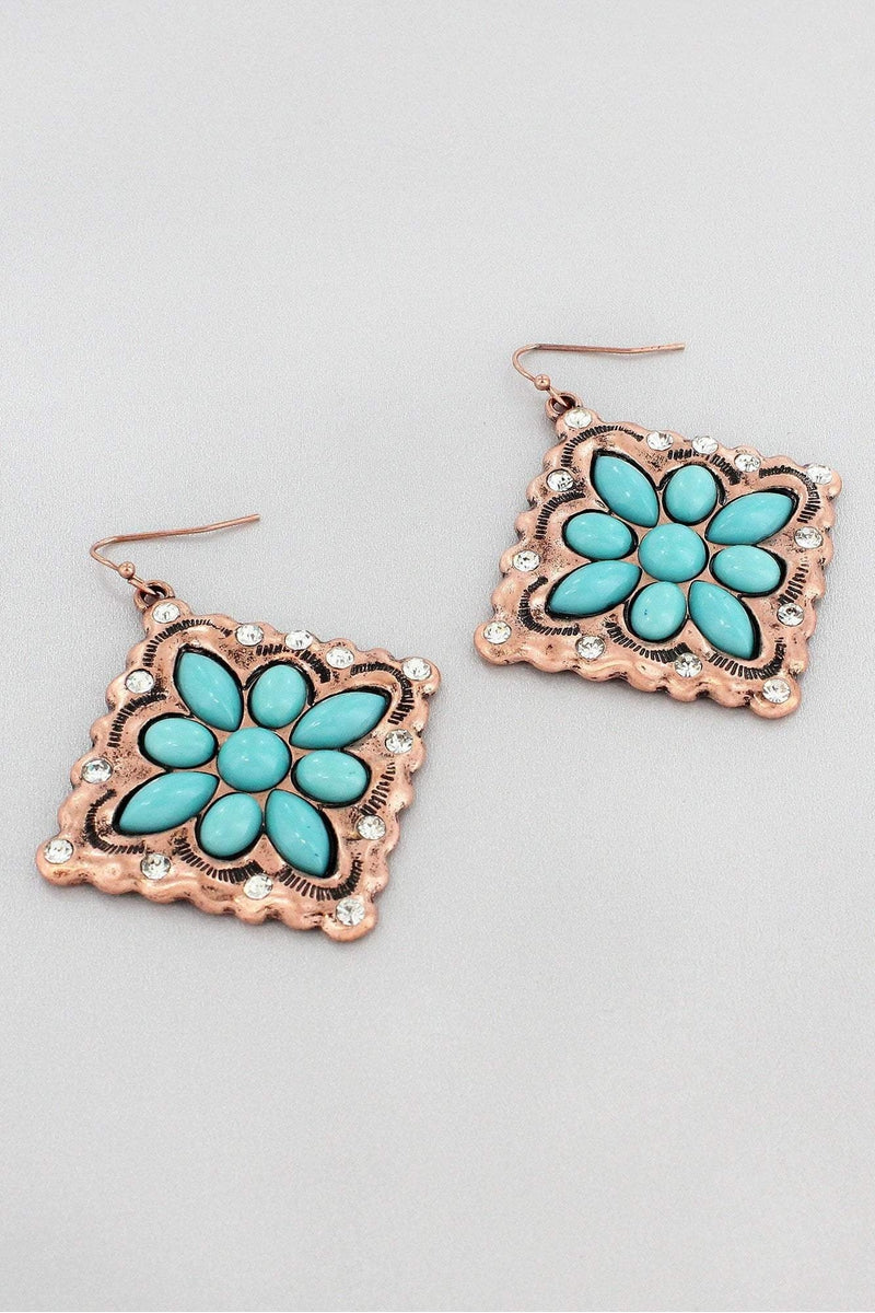 Burnished Coppertone and Turquoise Western Diamond Earrings #SE0130-CBTQ