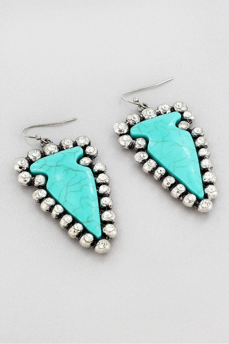 Burnished Silvertone and Turquoise Western Arrowhead Earrings #SE0135-SBTQ