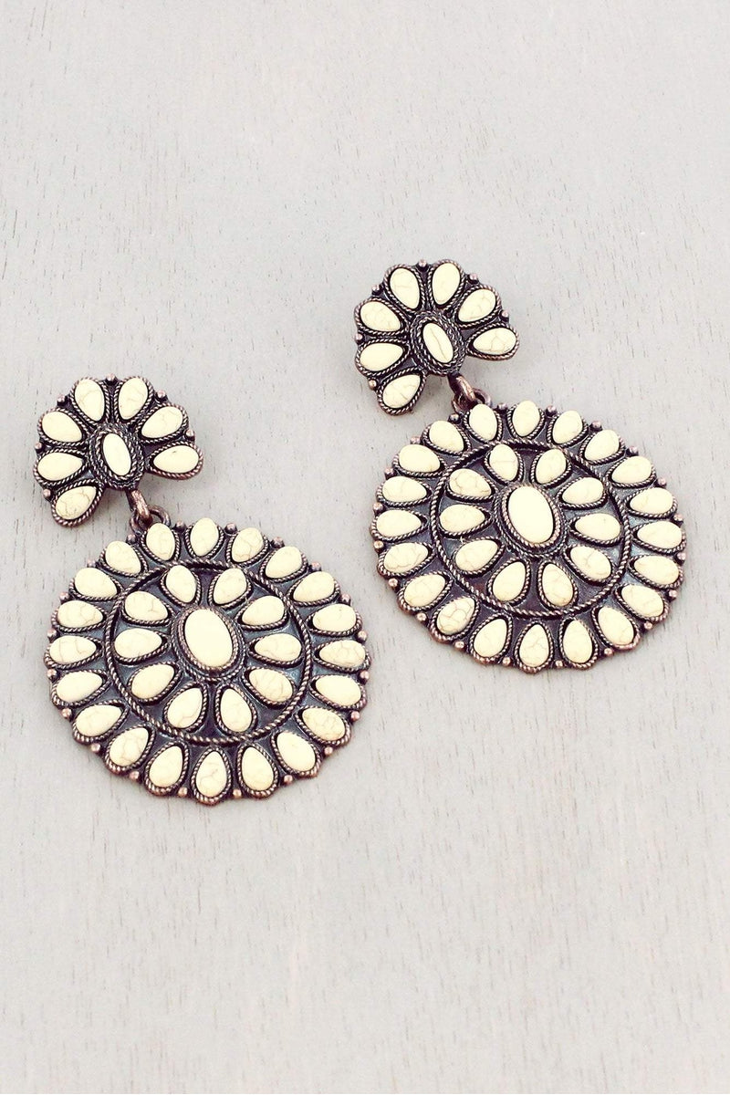Ivory Beaded Burnished Coppertone Two-Tiered Concho Earrings