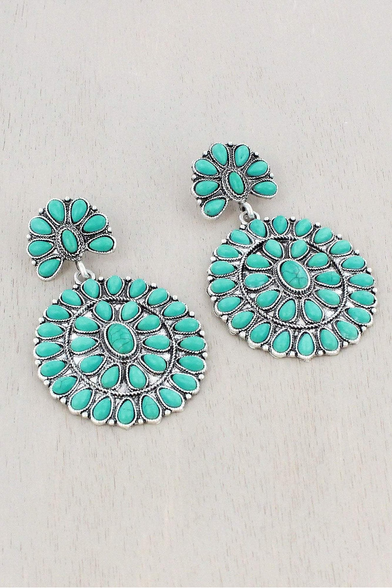 Turquoise Beaded Burnished Silvertone Two-Tiered Concho Earrings