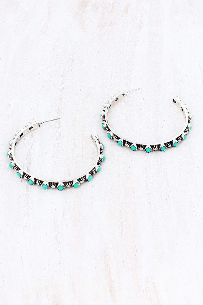Western Burnished Silvertone and Turquoise Bead Open Hoop Earrings