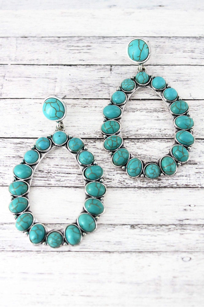 Western Turquoise Beaded Silvertone Oval Earrings
