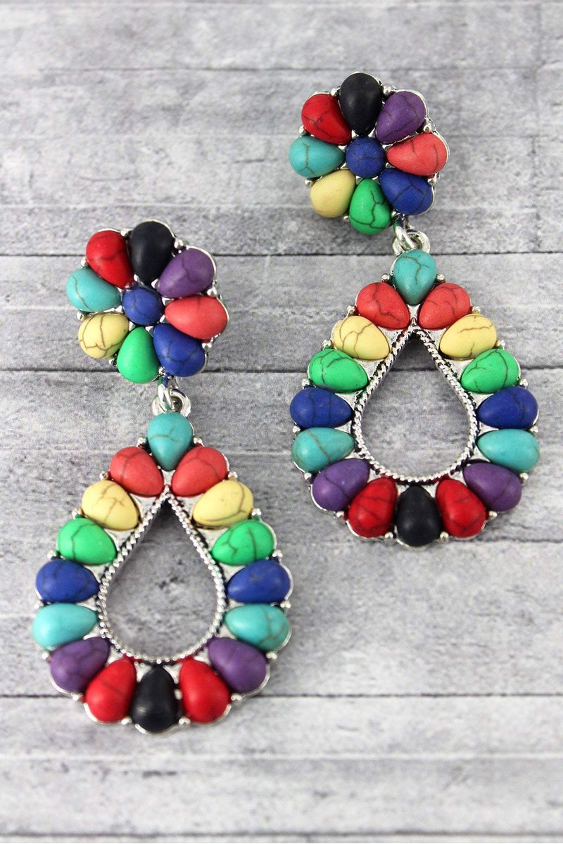 Western Multi-Color Beaded Silvertone Teardrop Earrings