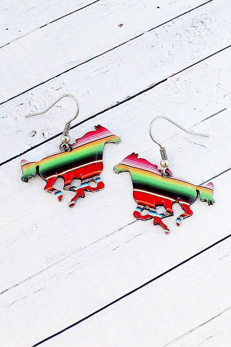 Serape Horse Silvertone Earrings