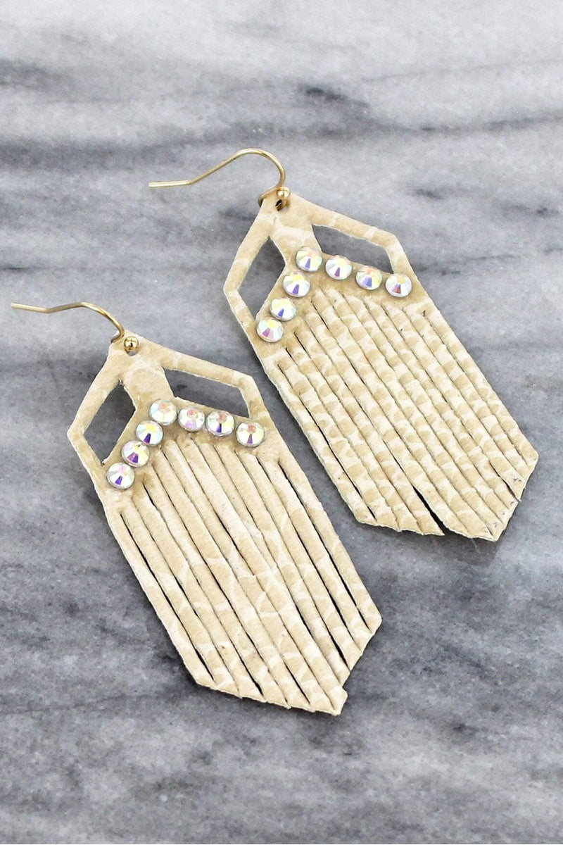 Crystal Accented Snakeskin Shredded Faux Leather Earrings