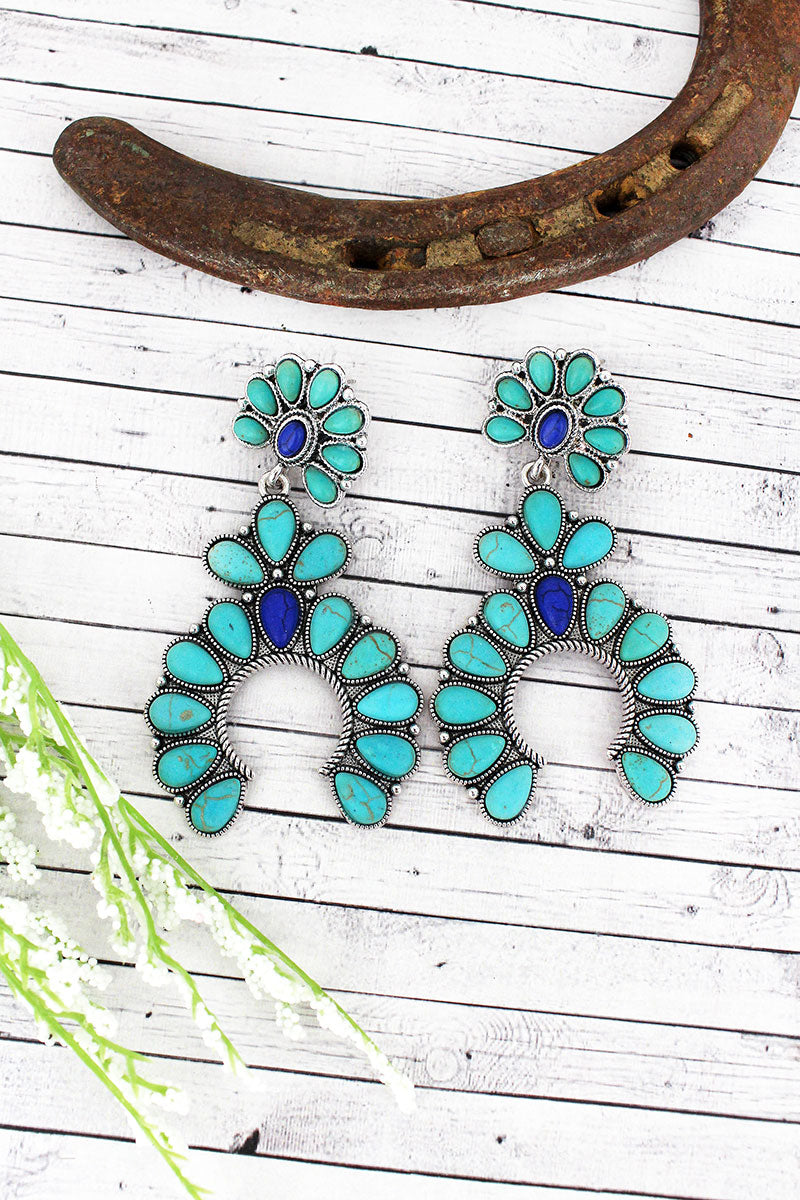 Western Turquoise and Blue Beaded Squash Blossom Earrings