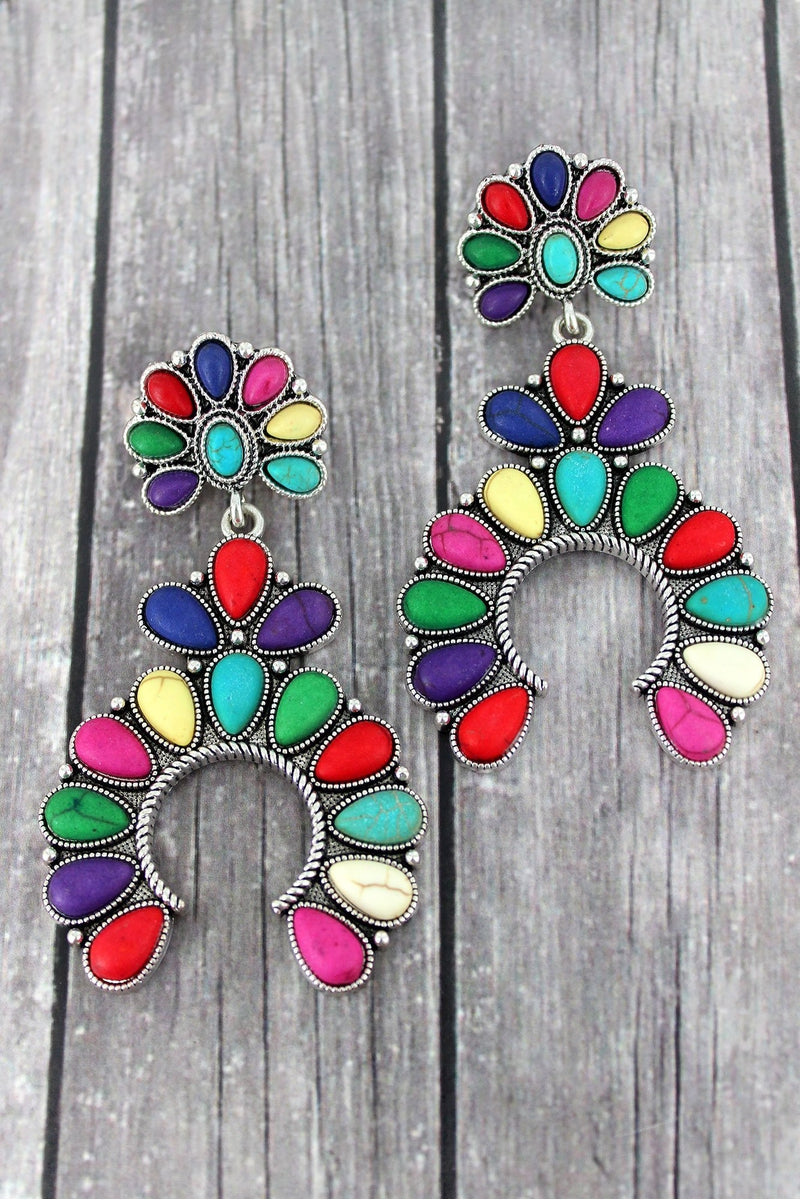 Western Multi-Color Beaded Squash Blossom Earrings