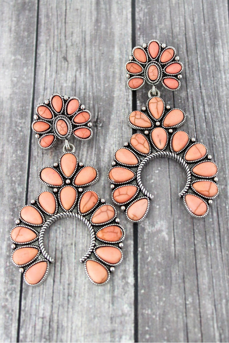Western Pink Beaded Squash Blossom Earrings