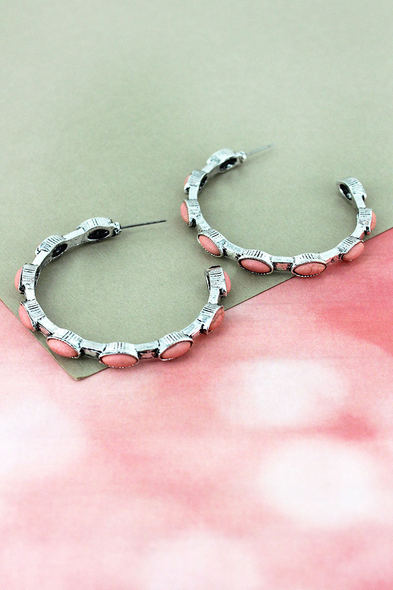 Pink Oval Beaded Burnished Silvertone Hoop Earrings