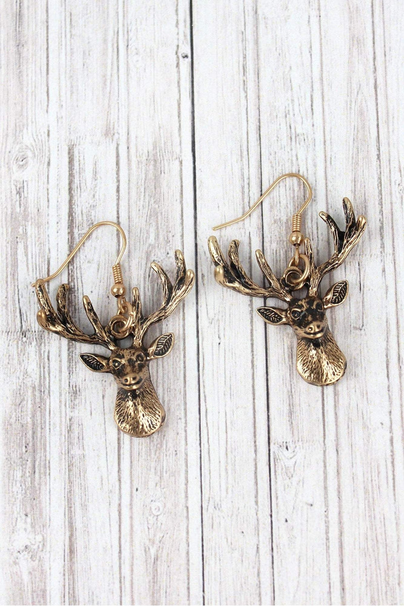 Worn Goldtone Deer Head Earrings