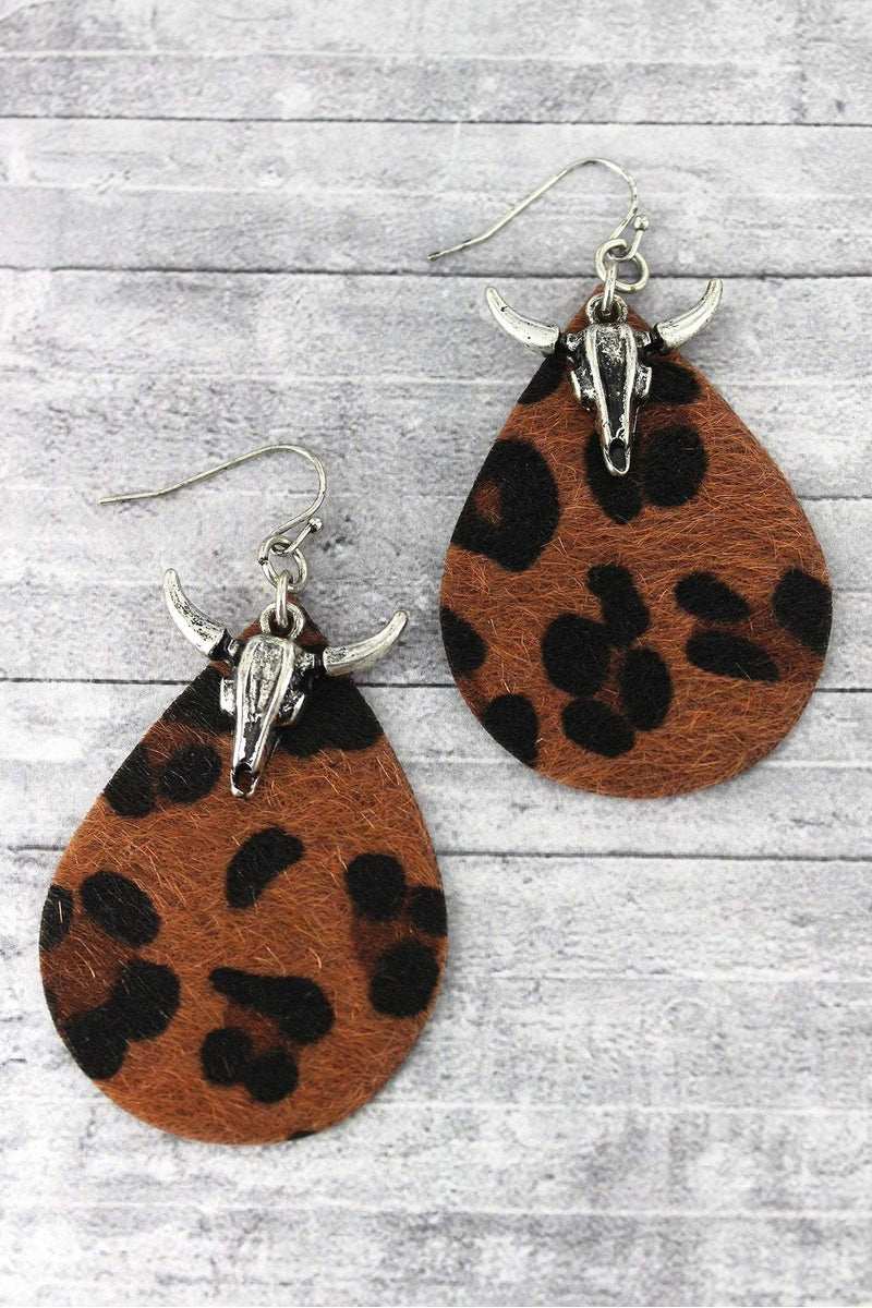 Steer Head and Dark Leopard Teardrop Earrings