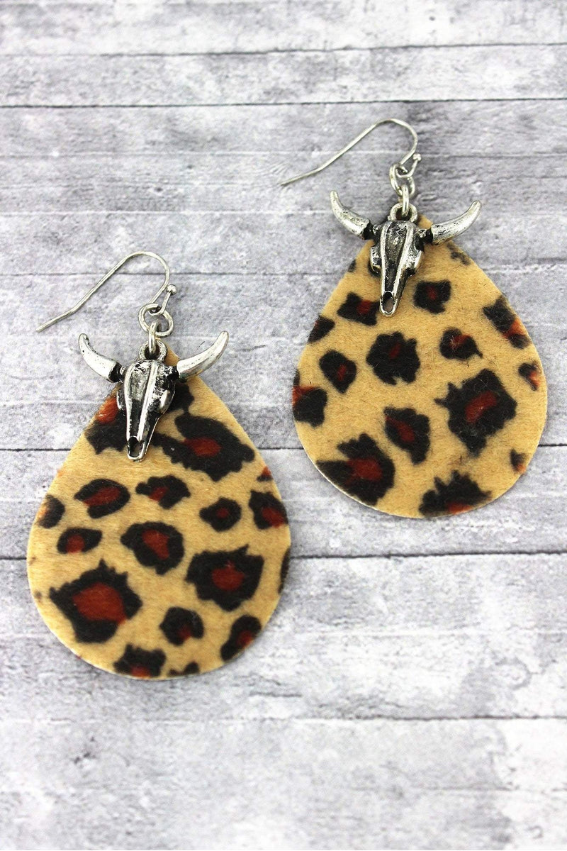 Steer Head and Light Leopard Teardrop Earrings